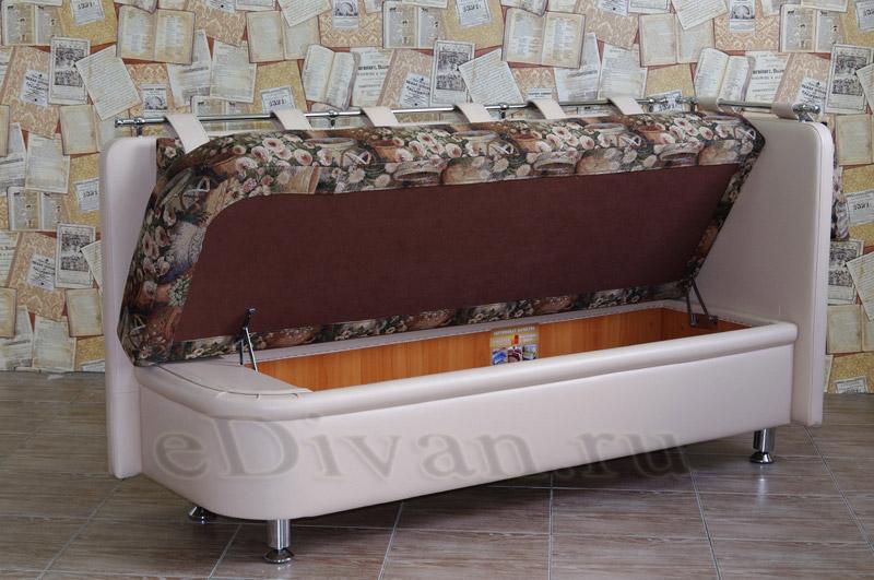 прямой кухонный диван с боковой спинкой метро